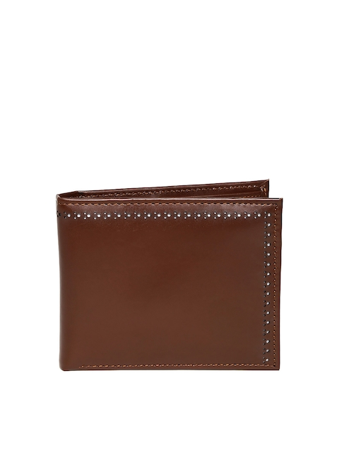 Wills Lifestyle Men Brown Cut-Out Genuine Leather Wallet