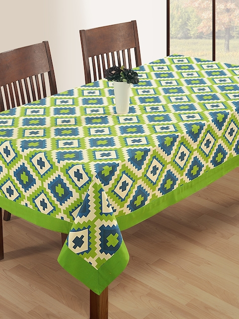 SWAYAM Green & Blue Rectangular Printed 90 x 60 Cotton Table Cover