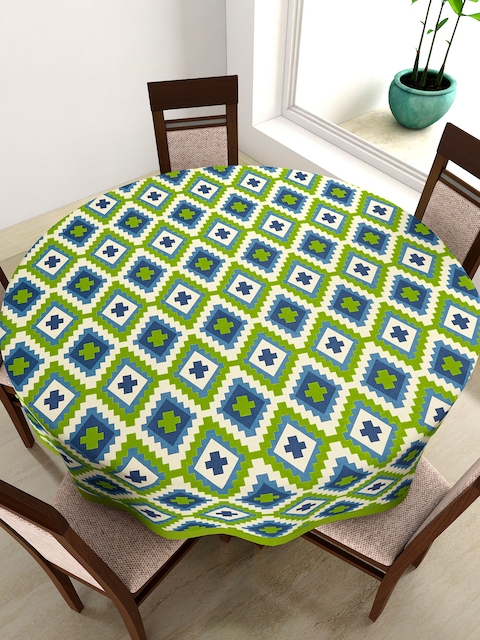 SWAYAM Green & Blue Round Printed 72 Cotton Table Cloth