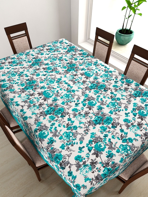 SWAYAM Teal Green Floral Print Rectangular 90 x 60 Cotton Table Cover