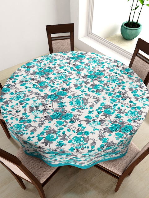 SWAYAM Blue Round Floral Print 72 Cotton Table Cloth
