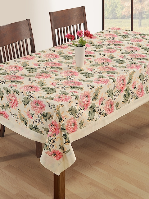 SWAYAM Off-White Floral Print Rectangular 60 x 90 Cotton Table Cover