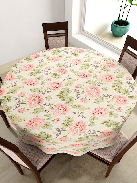 SWAYAM Cream-Coloured & Pink Floral Print Round 72 Cotton Table Cloth