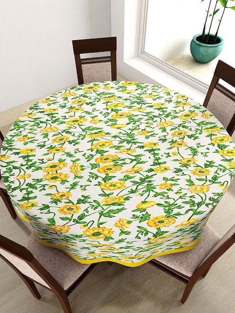 SWAYAM White & Yellow Floral Print Round 72 Cotton Table Cloth