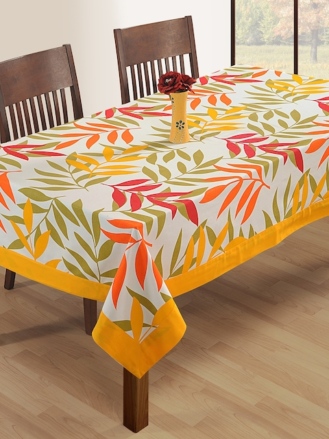 SWAYAM White & Red Leaf Print Rectangular 90 x 60 Cotton Table Cover