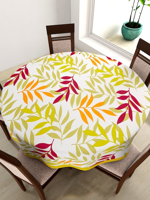 SWAYAM White Round Leaf Print 72 Cotton Table Cloth