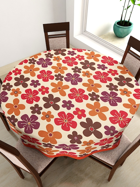 SWAYAM Beige Round Floral Print 72 Cotton Table Cloth
