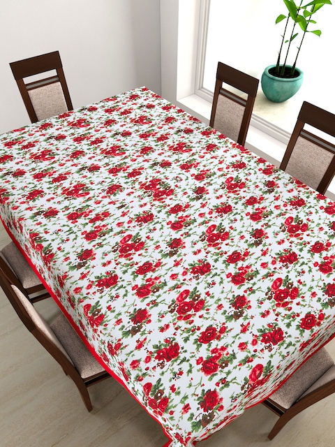 SWAYAM Off-White Rectangular Floral Print 90 x 60 Cotton Table Cover
