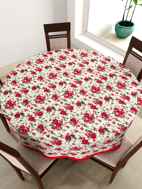 SWAYAM Off-White & Red Round Floral Print 72 Cotton Table Cloth