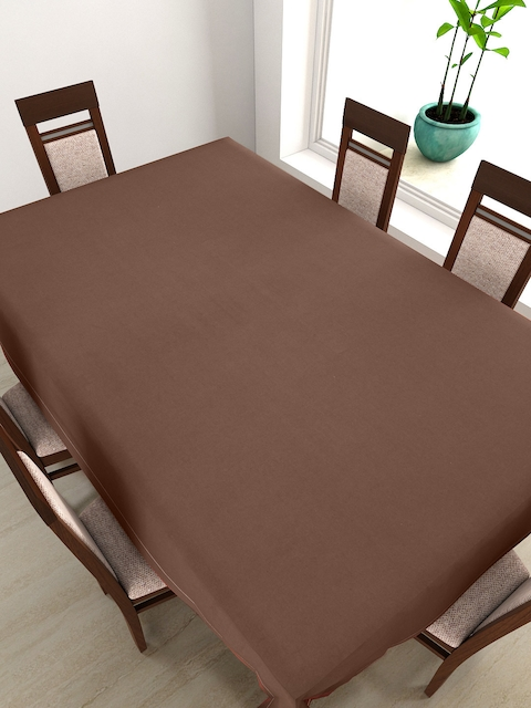 SWAYAM Coffee Brown Rectangular 90 x 60 Cotton Table Cover