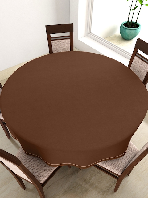 SWAYAM Coffee Brown Round 72 Cotton Table Cloth