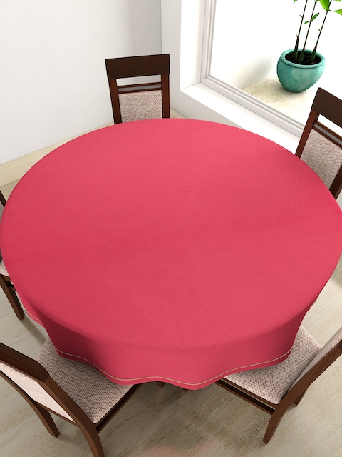 SWAYAM Pink Round 72 Cotton Table Cloth