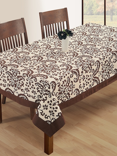 SWAYAM Off-White & Coffee Brown Rectangular Ethnic Print 90 x 60 Cotton Table Cover