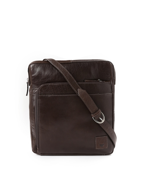 Hidesign Brown Leather Sling Bag  available at myntra for Rs.3701