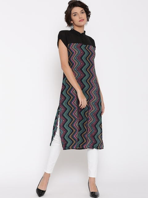 Vishudh Women Black Printed Straight Kurta  available at myntra for Rs.379