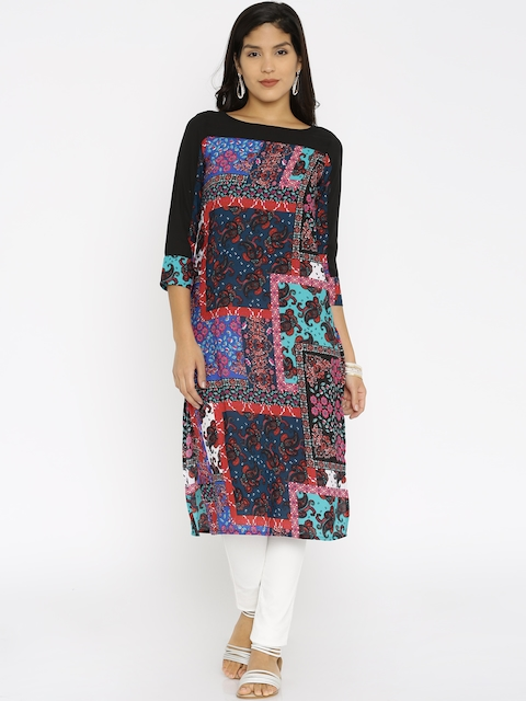 Vishudh Women Black Printed Straight Kurta  available at myntra for Rs.359