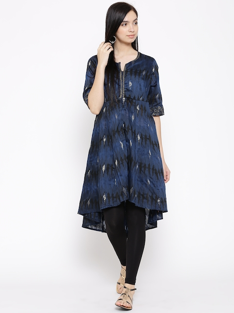 Biba Women Navy Woven Design Anarkali Kurta