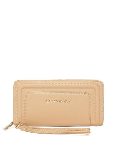 Lisa Haydon for Lino Perros Women Beige Textured Zip-Around Wallet