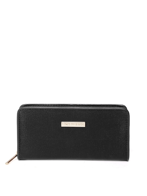 Lino Perros Women Black Shimmer Zip-Around Wallet