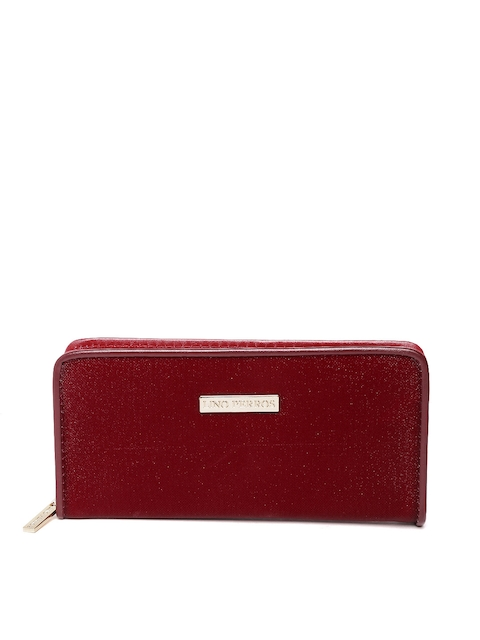 Lisa Haydon for Lino Perros Women Maroon Shimmer Zip-Around Wallet  available at myntra for Rs.447