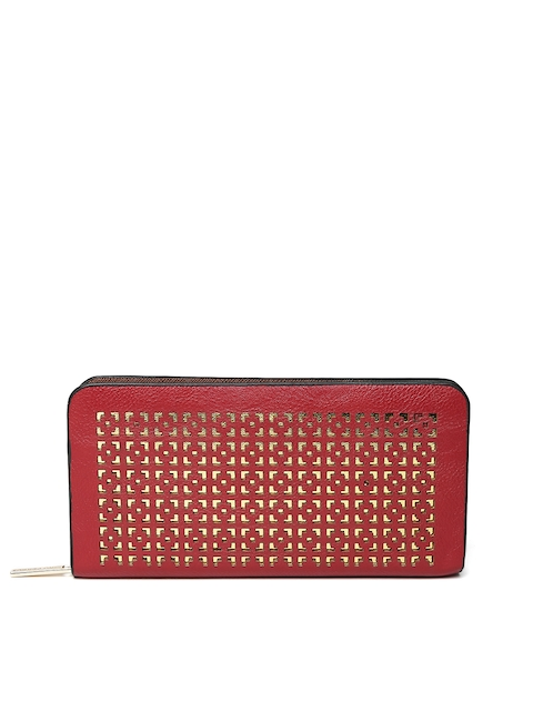 Lino Perros Women Red Cut-Out Zip-Around Wallet