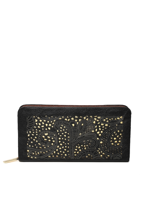 Lino Perros Women Black Cut-Out Zip-Around Wallet