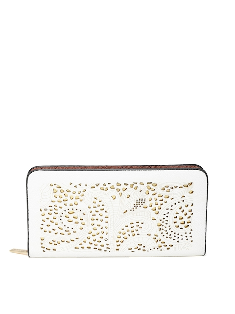Lino Perros Women White Cut-Out Zip-Around Wallet