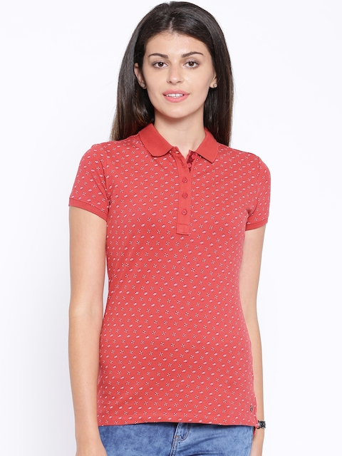 U.S. Polo Assn. Women Women Coral Red Printed Polo T-Shirt