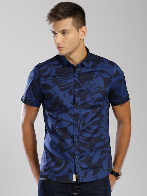 Tommy Hilfiger Men Navy Slim Fit Printed Casual Shirt