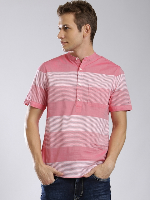 Tommy Hilfiger Men Pink & White Striped Short Kurta