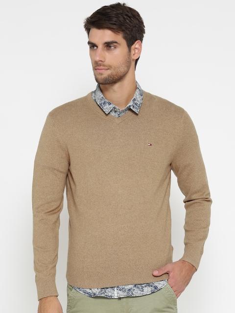 Tommy Hilfiger Men Beige Solid Sweater