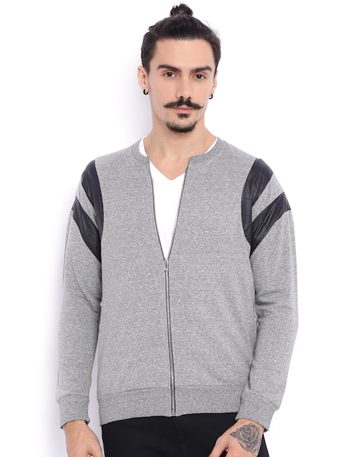 Campus Sutra Grey Bomber Jacket with Quilted Detail