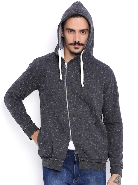 Campus Sutra Grey Hooded Jacket