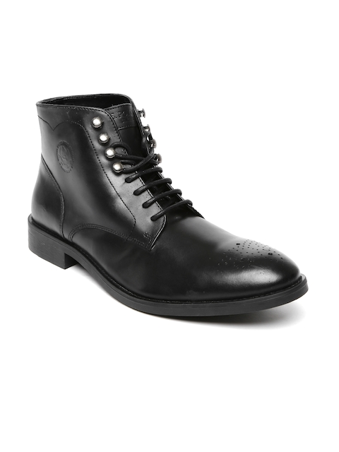 U.S. Polo Assn. Men Black Solid High-Top Leather Flat Boots