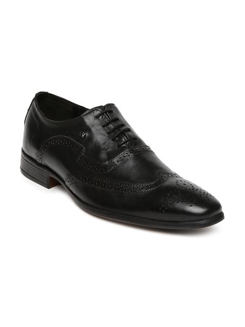 V Dot Men Black Leather Brogues