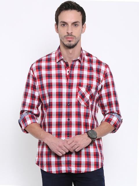 Killer Men Red Regular Fit Checked Casual Shirt
