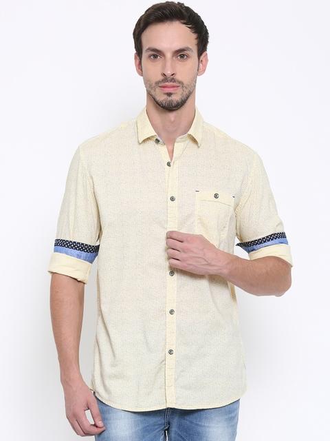 Killer Men Yellow Slim Fit Printed Casual Shirt