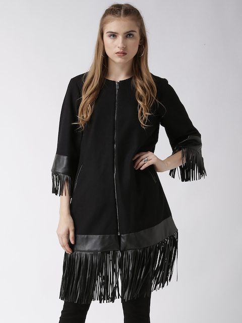 Silvian Heach Black Longline Jacket with Fringes