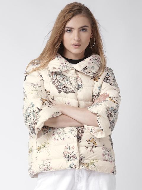 Silvian Heach Cream-Coloured Floral Print Puffer Jacket