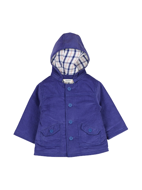 Beebay Boys Blue Corduroy Hooded Tailored Jacket