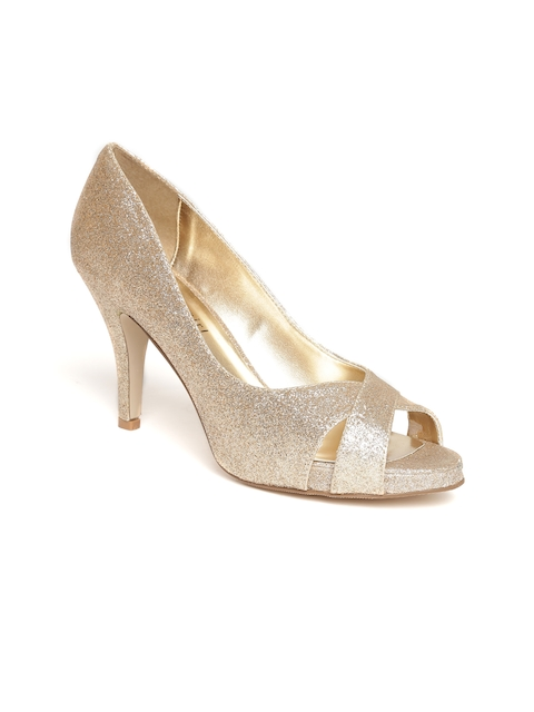 Steve Madden Women Gold-Toned Shimmer Platforms