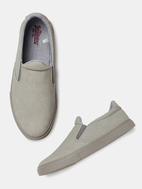 Roadster Men Grey Solid Slip-On Sneakers  available at myntra for Rs.569
