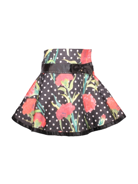 CUTECUMBER Girls Black Polka Dot & Floral Print  Polyester Flared Skirt  available at myntra for Rs.525