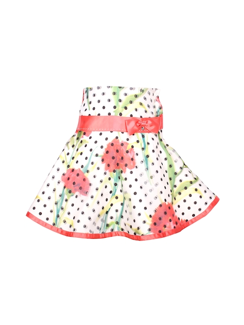 CUTECUMBER Girls Off-White Polka Dot & Floral Print Polyester Flared Skirt  available at myntra for Rs.525