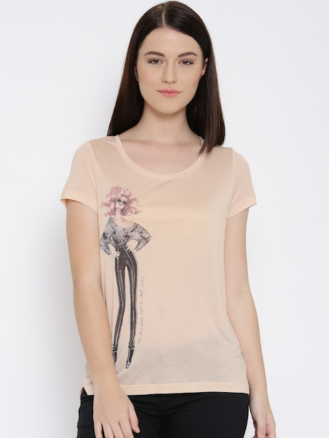Vero Moda Peach-Coloured Printed Top