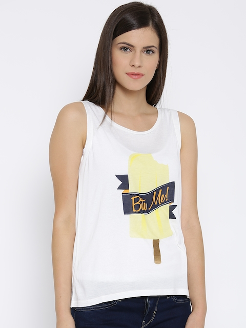 Vero Moda Women Off-White Printed Regular Top