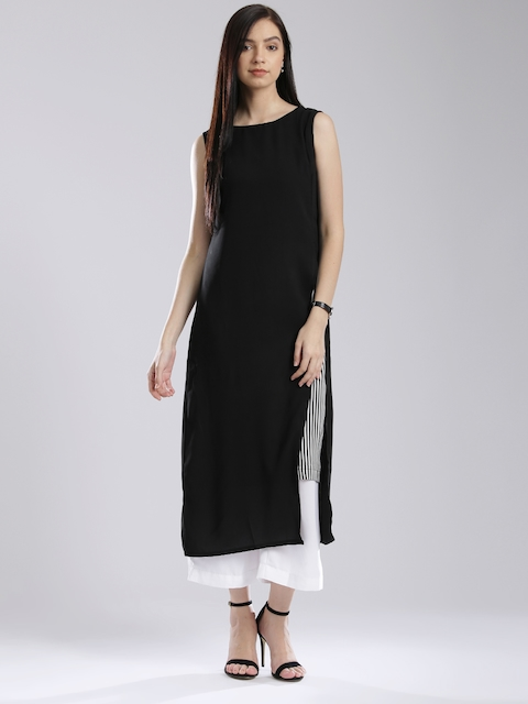 W Black Polyester Layered A-Line Kurta