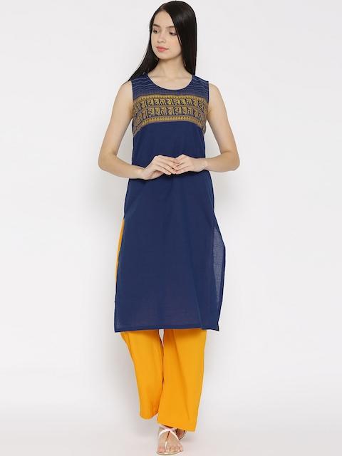 AURELIA Blue Sleeveless Kurta  available at myntra for Rs.454