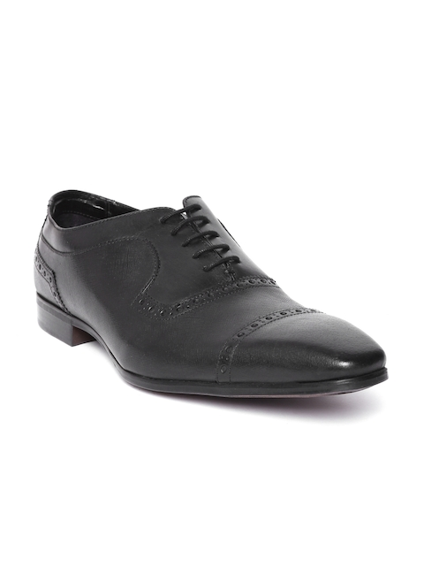 Ruosh Men Black Solid Leather Formal Brogues