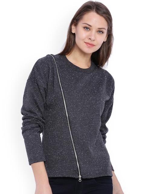 Campus Sutra Charcoal Grey Sweatshirt